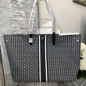 NEW Tory Burch Gemini Link Tote - Black/White